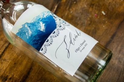 Ślubne Etykiety samoprzylepne na butelki weselne z motywem gór