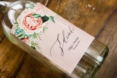 Ślubne Etykiety samoprzylepne na butelki weselne w stylu boho utrzymane w pastelowej, różowej barwie