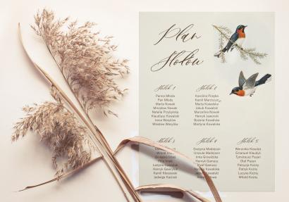 Weselny Plan Stołów z grafiką ptaków w stylu vintage