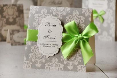 Zaproszenie ślubne perłowe z kokardką- Ornament nr 11 - Delikatna szarość z akcentem kolorystycznym