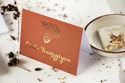 Jesienne Winietki ślubne ze złoceniem z motywem żołędzi.