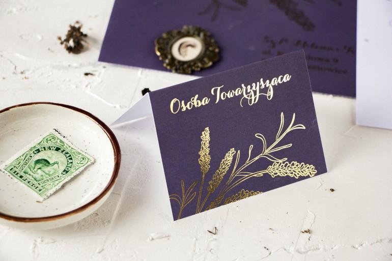 Fioletowe Winietki ślubne ze złoceniem z motywem lawendy