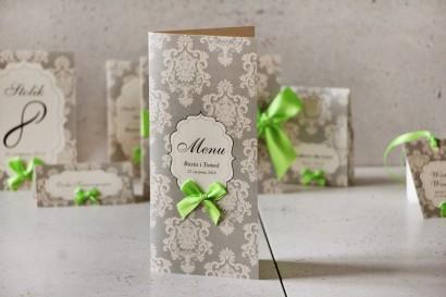 Menu weselne, stół weselny - Ornament nr 11 - Papier perłowy z kokardką, szarość z akcentem kolorystycznym