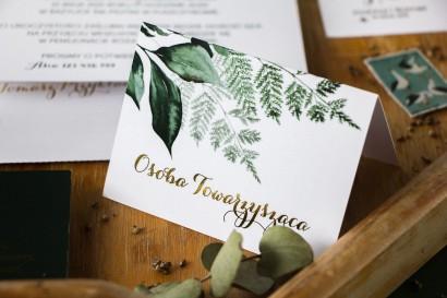 Winietki ślubne ze złoceniem z botanicznym motywem. Winietki z paprocią i zielonymi gałązkami