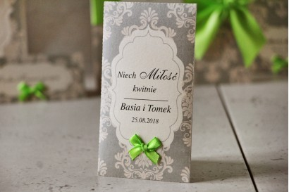 Podziękowania dla Gości weselnych - nasiona Niezapominajki - Ornament nr 11 - Szare z ornamentami i kokardką, papier perłowy