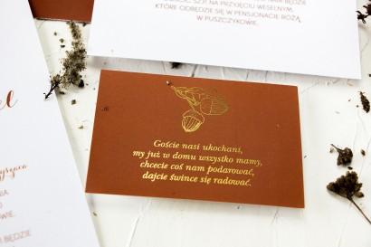 Bilecik do zaproszeń ślubnych ze złoceniem i z motywem żołędzi