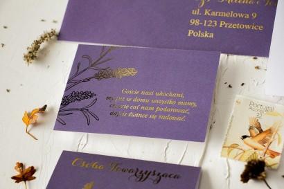 Fioletowy Bilecik do zaproszeń ślubnych ze złoceniem z motywem lawendy