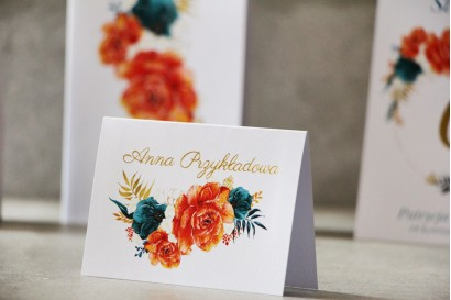 Winietki na stół weselny, ślub - Cykade nr 6 ze złoceniem - Pomarańczowe kwiaty z akcentem szmaragdowego