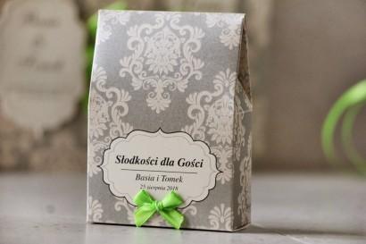 Pudełeczko stojące na cukierki, podziękowania dla Gości weselnych - Ornament nr 11 - Beżowo-kremowe ornamenty, z kokardką