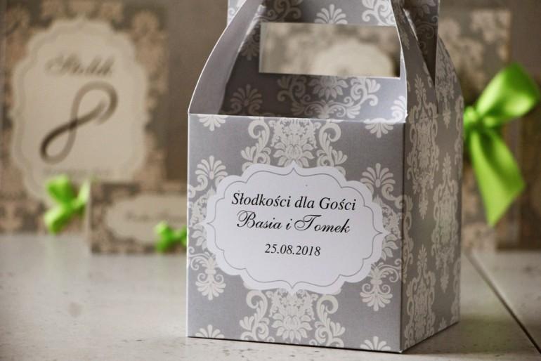 Pudełko na ciasto kwadratowe, tort weselny - Ornament nr 11 - Delikatne szarości