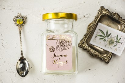 Świeczki Ślubne - prezenty dla gości weselnych. Złocona etykieta z motywem piwonii