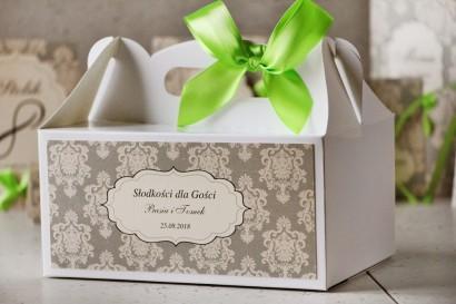 Prostokątne pudełko na ciasto, tort weselny, ślub - Ornament nr 11 - Szarości z kokardką