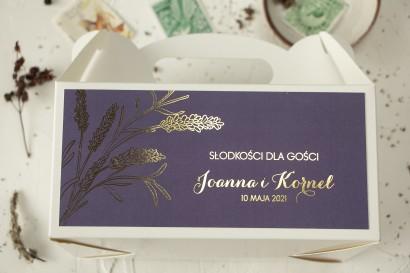 Pudełko na Ciasto weselne (prostokątne) ze złoceniem z motywem lawendy