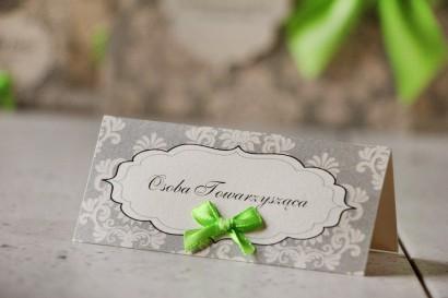 Winietki na stół weselny, ślub - Ornament nr 11 - Szaro-kremowe z kokardką, papier perłowy, ornamenty