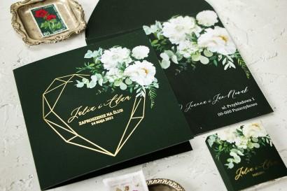 Zaproszenia ślubne w kolorze butelkowej zieleni. Zaproszenia ze złotym, geometrycznym sercem