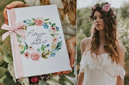 Księga Gości - dodatki weselne, ślubne - Akwarele nr 13 - Pastelowe kwiaty