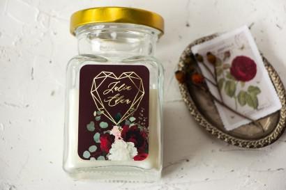 Świeczki Ślubne jako podziękowania dla gości. Burgundowa etykieta ze złoceniami