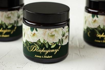 Naturalne Świeczki sojowe - podziękowania dla gości weselnych. Etykieta w kolorze butelkowej zieleni z eleganckim bukietem