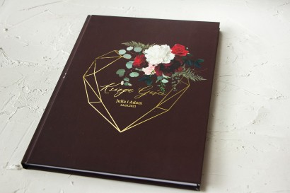Burgundowa Ślubna Księga Gości ze złoceniami, z czerwonymi różami i piwoniami