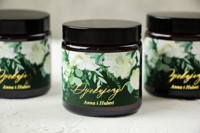Naturalne Świeczki sojowe - podziękowania dla gości weselnych. Złocona etykieta w kolorze butelkowej zieleni