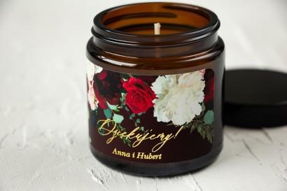 Naturalne Świeczki sojowe - podziękowania dla gości weselnych. Burgundowa etykieta ze złoceniami, z czerwonymi różami