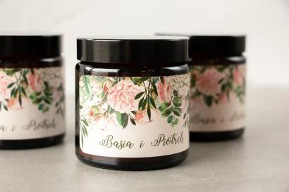Naturalne Świeczki sojowe - podziękowania dla gości weselnych. Etykieta z nadrukiem pastelowych róż i białych hortensji