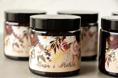 Naturalne Świeczki sojowe - podziękowania dla gości weselnych. Etykieta z nadrukiem z nadrukiem dalii