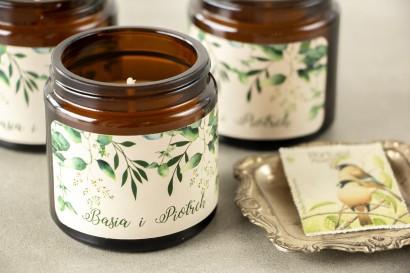 Naturalne Świeczki sojowe - podziękowania dla gości weselnych. Etykieta z nadrukiem z nadrukiem liści eukaliptusa