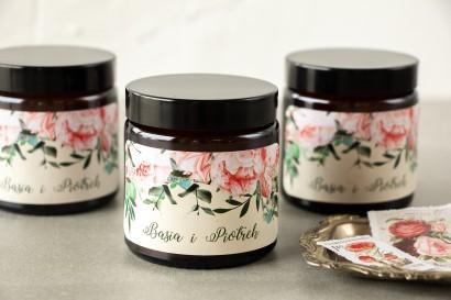 Naturalne Świeczki sojowe - podziękowania dla gości weselnych. Etykieta z różowymi piwoniami i różami