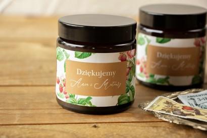 Naturalne Świeczki sojowe - podziękowania dla gości weselnych. Etykieta z piwoniami i malinami