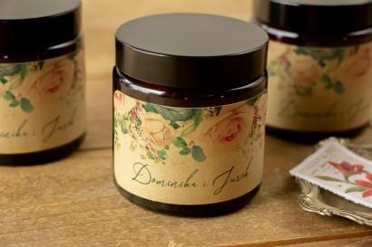Naturalne Świeczki sojowe - podziękowania dla gości weselnych. Etykieta z papieru ekologicznego z różami