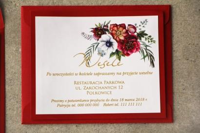 Bilecik dwuwarstwowy prezenty ślubne wesele - Cykade nr 7 ze złoceniem - Bordowy bukiet w chłodnych barwach