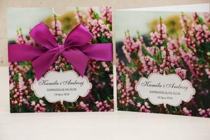 Zaproszenie ślubne, zaproszenia na ślub, kwiatowe z kokardą - Felicja nr 1 - Wrzosowe