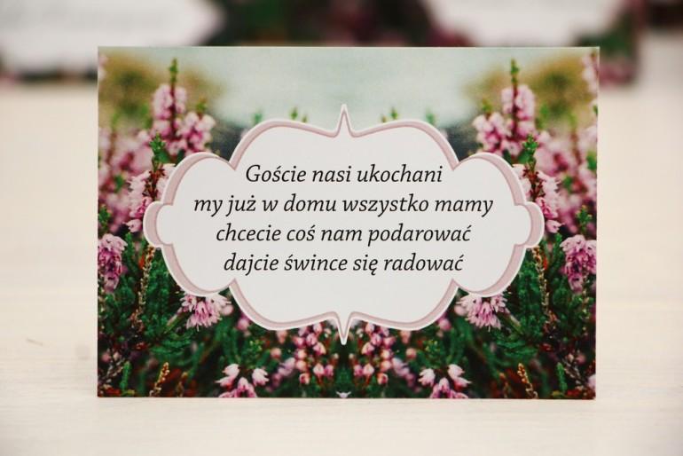 Bilecik prezenty ślubne wesele - Felicja nr 1 - Gałązki wrzosu - zaproszenia ślubne