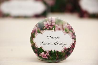 Przypinki dla Gości weselnych, dodatki na wesele, ślub, przypinka - Felicja nr 1 - Wrzosowe