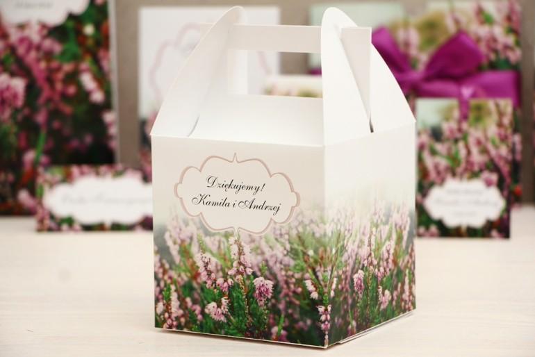 Pudełko na ciasto kwadratowe, tort weselny - Felicja nr 1 - Wrzosowe pole - kwiatowe dodatki ślubne