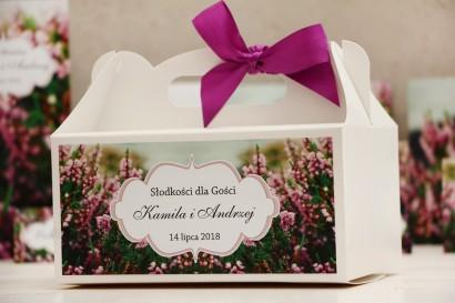 Prostokątne pudełko na ciasto, tort weselny, ślub - Felicja nr 1 - Wrzosowe pole - kwiatowe dodatki ślubne