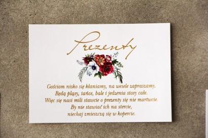 Bilecik prezenty ślubne wesele - Cykade nr 7 ze złoceniem - Bordowo-biały bukiet w chłodnych barwach
