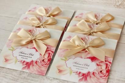 Zaproszenie ślubne, zaproszenia na ślub kwiatowe z kokardą - Felicja nr 2 - Pudrowe piwonie