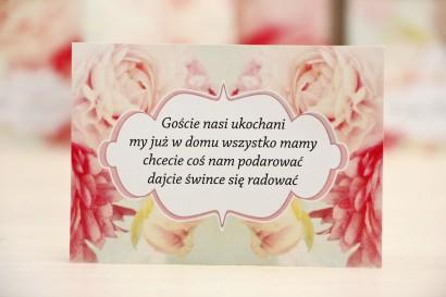 Bilecik prezenty ślubne wesele - Felicja nr 2 - Pudrowe piwonie - zaproszenia na ślub