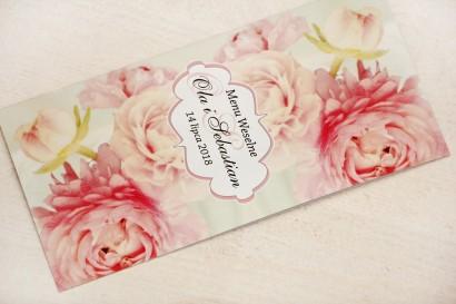 Menu weselne, stół weselny - Felicja nr 2 - Pudrowe piwonie - kwiatowe dodatki ślubne