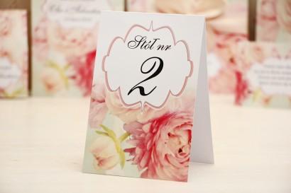 Numery stolików, stół weselny, ślub - Felicja nr 2 - Pudrowe piwonie