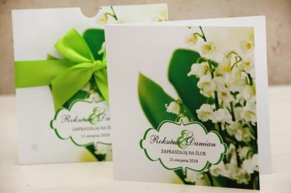Zaproszenie ślubne, zaproszenia na ślub kwiatowe z kokardą - Felicja nr 3 - Wiosenne konwalie