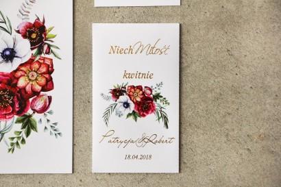 Podziękowania dla Gości weselnych - Nasiona Niezapominajki - Cykade nr 7 ze złoceniem - Bordowe kwiaty w chłodnych odcieniach.