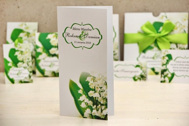 Menu weselne, stół weselny - Felicja nr 3 - Białe konwalie - kwiatowe dodatki ślubne