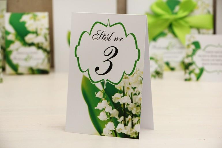 Numery stolików, stół weselny, ślub - Felicja nr 3 - Białe wiosenne konwalie - dodatki ślubne