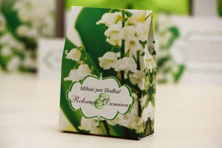 Pudełeczko stojące na cukierki, podziękowania dla Gości weselnych - Felicja nr 3 - Konwalie - dodatki ślubne