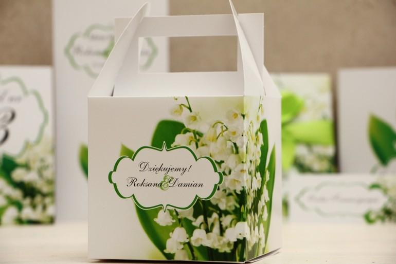 Pudełko na ciasto kwadratowe, tort weselny - Felicja nr 3 - Białe konwalie - kwiatowe dodatki ślubne