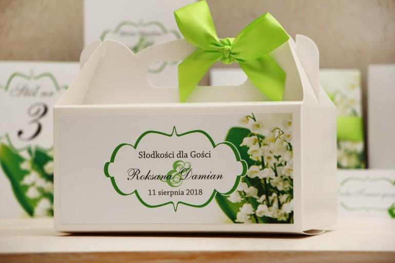 Prostokątne pudełko na ciasto, tort weselny, ślub - Felicja nr 3 - Białe konwalie - kwiatowe dodatki ślubne