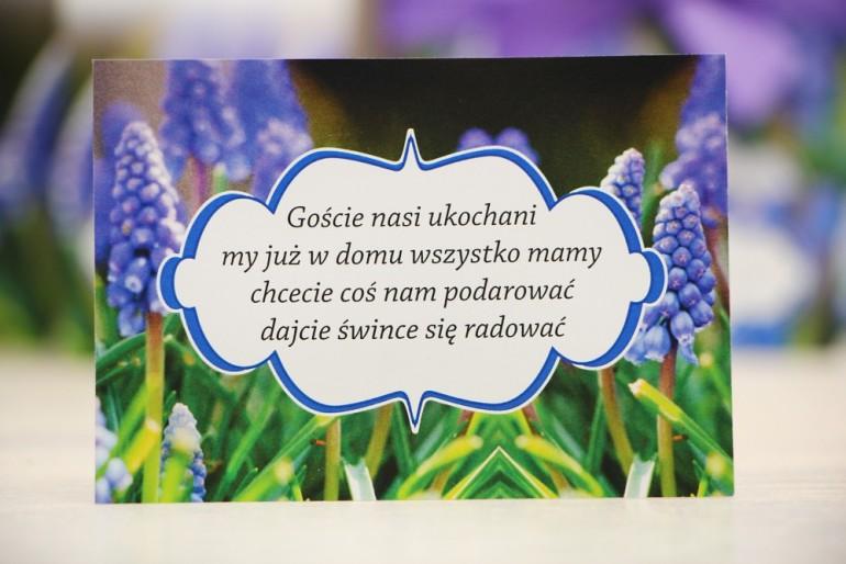 Bilecik prezenty ślubne wesele - Felicja nr 4 - Fioletowe szafirki - zaproszenia na ślub